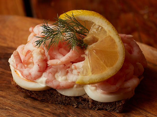 """Smorrebrod The Royal Queen Shrimps """"Hand peeled Royal Shrimps with rye bread, egg, mayo, dill & lemon"""