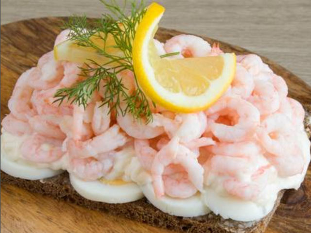 "Smorrebrod The Royal King Shrimps ""Hand peeled Royal Shrimps with rye bread, egg, mayonnaise, dill & lemon"""
