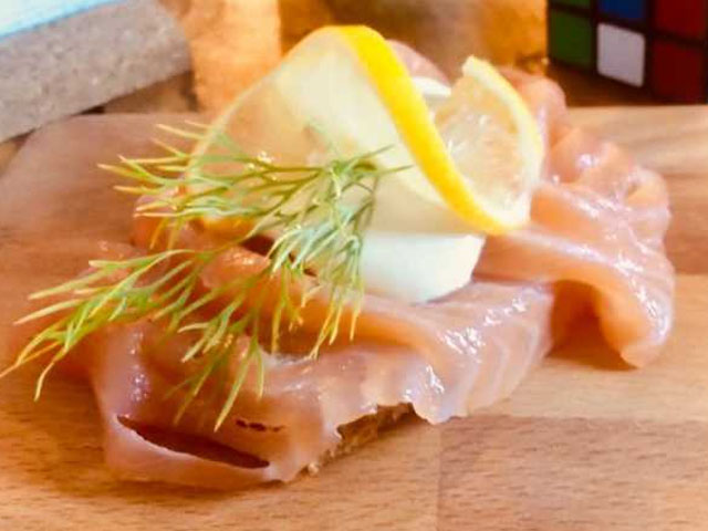 "Smorrebrod Oslo ""Smoked Salmon with rye bread & creamy mustard sauce"""
