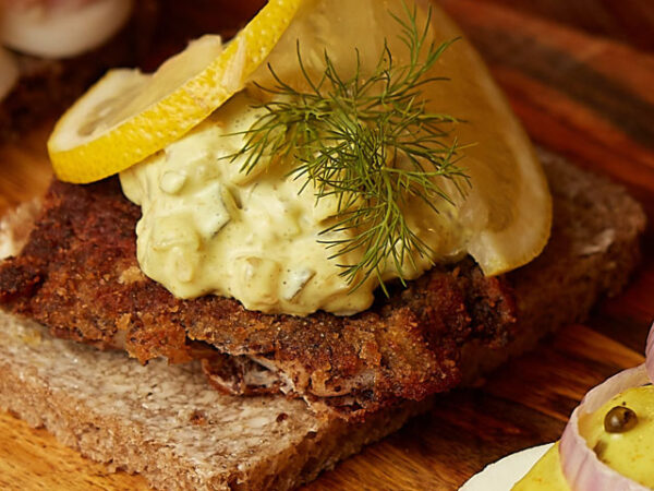 "Smorrebrod Göteborg ""Crispy home fried fish fillet, homemade Danish remoulade, capers & leek"""
