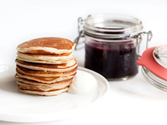 Smorrebrod Scandinavian Pancake Plain, Smetana, Jam, Veal Bacon