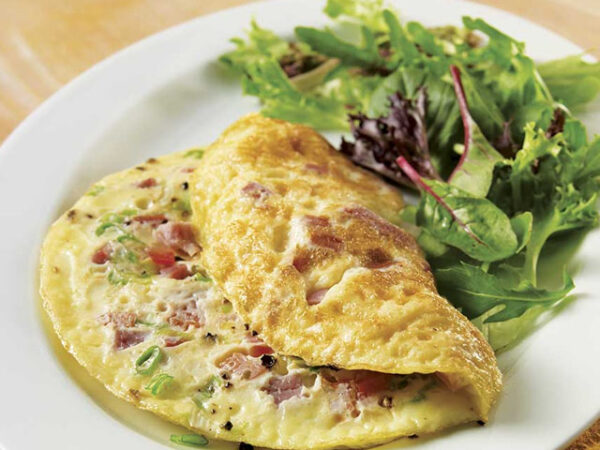 Smorrebrod Omelette Plain, Vegetable, Jam, Veal Bacon