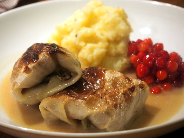 """Smorrebrod Cabbage Roll """"Kåldolmar"""" served with Mash Potatoes, creamy brown sauce and Lingonberry jam"""